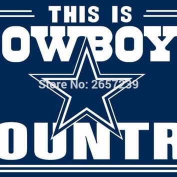 This is Dallas Cowboys Country Flag 3x5FT NFL banner 100D 150X90CM Polyester brass grommets custom042, Free Shipping