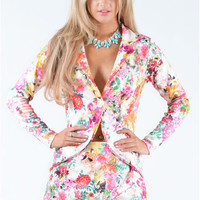 Javen Floral Print Two Piece Blazer And Skort Set
