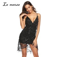 Plus Size Dress 2019 Women Summer Dress Sexy Club Party Night Beach Bodycon Sequines Mini Dress