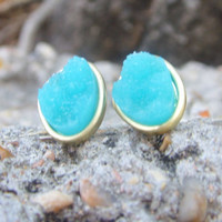 Turquoise, Green or Navy Druzy Stud Earrings in Matte Gold Setting