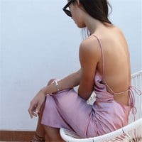 Spaghetti Strap Backless Split One Piece Dress [9643027599]