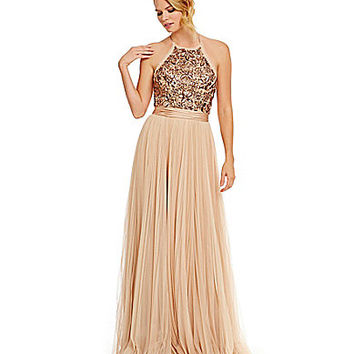 Mignon Beaded Halter Pleated Skirt Gown | Dillards.com
