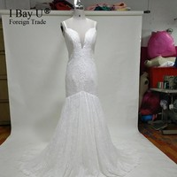 Real Photos Simple Wedding Gowns Formal Wear Boho Mermaid Wedding Dress Vestido Boho Vestido De Noiva Renda Barato White Dresses