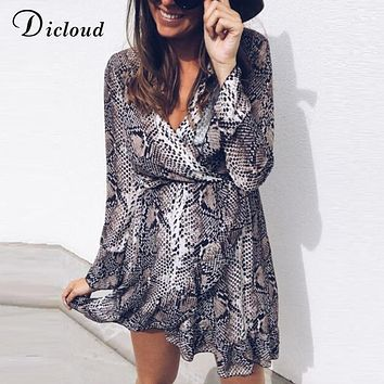 Dicloud long sleeve snake print dress woman autumn animal print winter dresses fashion 2018 v neck sexy vestidos snake dress