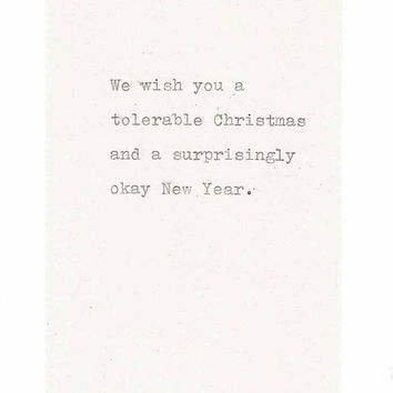 A Tolerable Christmas And An Okay New Year Funny Holiday Card | Happy Holidays Humor Weird Sarcastic Seasons Greetings Vintage Typewriter