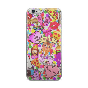 FAB Teen Girl Code Girly Girls Pizza UGH Polka Dots Unicorn Smiley Face Heart Eyes Emoji Collage Pink iPhone 4 4s 5 5s 5C 6 6s 6 Plus 6s Plus 7 & 7 Plus Case
