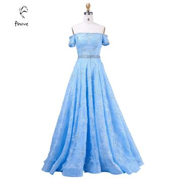 Long Prom Dresses Gowns Dreamlike with Boat-Neck Half Sleeve Crystal Beading Lace A-Line Evening Dresses