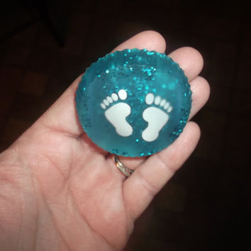 Baby's First Christmas Baby Foot Prints For A Boy Resin Christmas Ornament Personalized