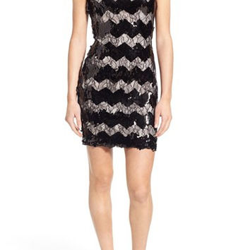 (D) As U Wish -Zigzag Sequin & lace dress