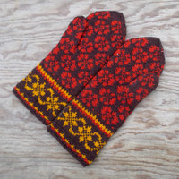knitted warm wool mittens, knit red brown mitts, handknit latvian mittens, colorful winter gloves, ethnic arm warmers, women men accessories