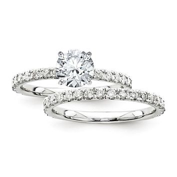 Certified 2.20 Ct. Round Diamond Bridal Engagement Ring Set with Side Stones in 14K White Gold