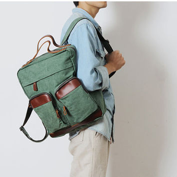 Genuine Leather Canvas Backpack  -Men's Leather Bag Canvas bag - Leather Canvas  Briefcase - Messenger bag - Laptop bag