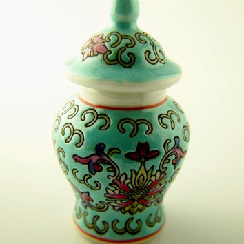 Turquoise Porcelain Bottle - Peony Design - Chinese - Vintage Collectibles