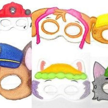 Handmade Paw Patrol Masks Set Of 7