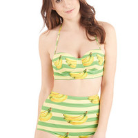 Kawaii High Waist Dive for Excellence Swimsuit Top in Banana Stand