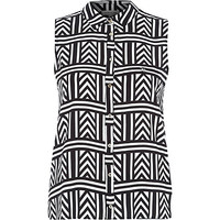 River Island Womens Black geometric print sleeveless shirt