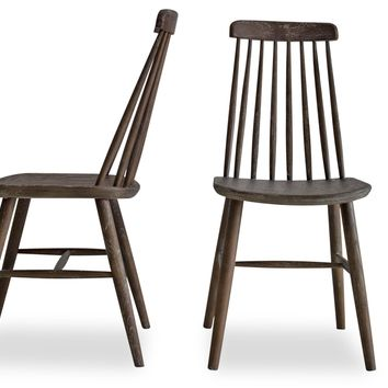 Boxwood Farmhouse Dining Chairs Ash Brown Oak (Set Of 2)
