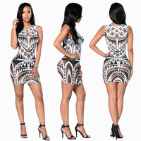 20170New Sexy Women Slim Digital Printed Mesh Dresses Bandage Sleeveless Casual Party Pencil Dress -MX8