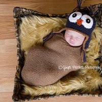 Baby Owl Hat Lil Hoot  Dark Blue Newborn to 4 yr old size Perfect Photography Prop