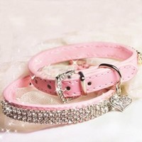Leegoal Sparkly Crystal Heart Shape Pendant PU Leather Pet Collar for Dogs Cats (Pink,XS Size)
