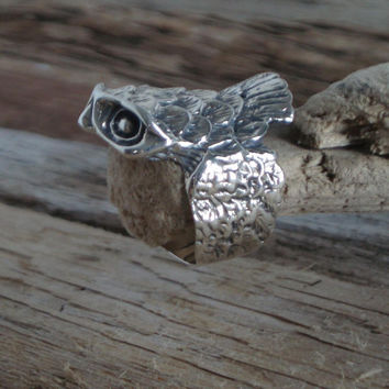 Owl Bespecktacled 925 Sterling Silver Ring Size P+ USA 7 3/4 . Owl Ring . Bird Jewellery . 925 Silver Ring . Owl Jewellery .