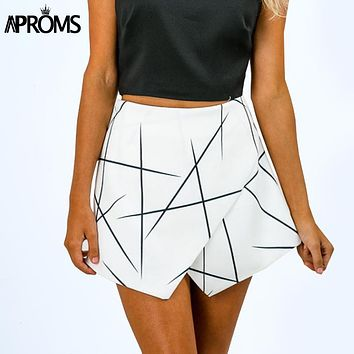 Style Shorts Women Sharp Lines Layered Zipper Skort Irregular