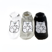 New Ripndip Lord Nermal Cat Socks Cotton Harajuku Cats Funny Socks Causal Business Men Short Ankle Socks For Men And Women