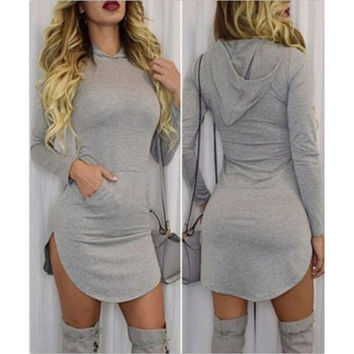 Autumn Fashion Women Hooded Long Sleeve Dress = 5709341249