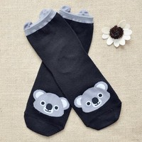 FunShop Woman's Koala Fox and Raccoon Pattern Cotton Ankel Socks in 3 Colors Fox F1104