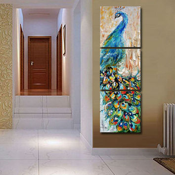 3 pieces wall art Peacock painting wall art print painting Home decoration pictures print on canvas framed art T/863