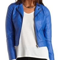 Faux Leather Moto Jacket by Charlotte Russe - Blue