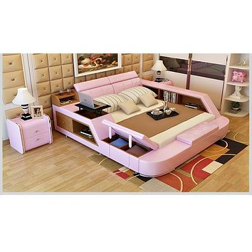 Pink Stuff Side Leather bed  For Room Furniure