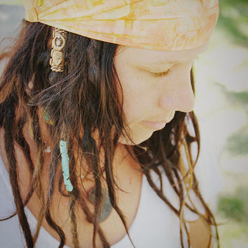 Mango Batik Wrap, size M - yoga headband, dreadlock wrap: Gypsy Wraps by Julie Bartel