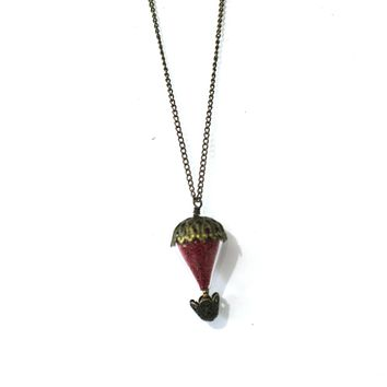 Antique Bronze and Red Hot Air Balloon Necklace - Red Mircobeads and Antique Bronze - Simple Necklace - 18 Inch - Flyaway