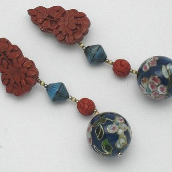Chinese Export Carved Cinnabar Cloisonne Enamel Dress Clips 1940s