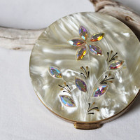 Vintage Faux Mother of Pearl and Aurora Borealis Rhinestone Compact