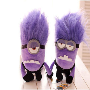 "Despicable Me 2 Plush Toy 9"" EYES Evil Purple Minions Stuffed Animal Doll"
