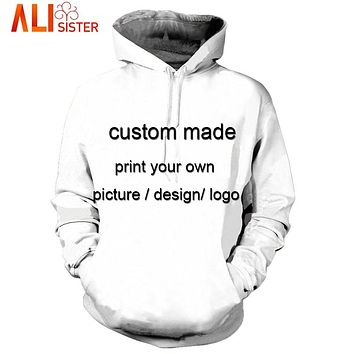 Alisister Custom Made Hoodies Sweatshirt 3d Print Men's Pullovers Plus Size Unisxe Brand Clothing Dropship