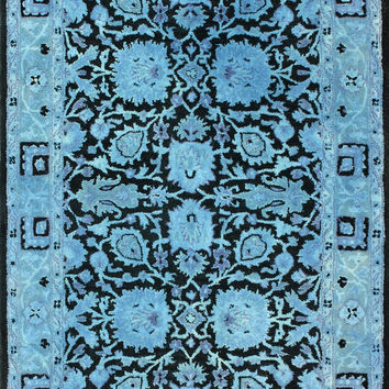 Ramona Overdyed Style 100% Wool Area Rug in Blue design by NuLoom