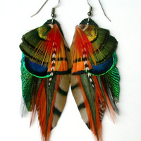 Earth Dancer Feather Earrings All Natural Colors by wildspirits