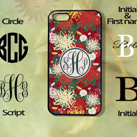 Monogram Chinese Flowers iPhone 5 , 5s, 5c,4s, 4,Ipod touch 4, 5, Samsung GS3, GS4, GS5-Silicone Rubber or Hard Plase, cover
