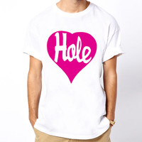 Hole Heart COURTNEY LOVE nirvana Kurt Cobain punk rock band white t-shirt