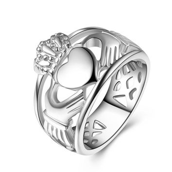 New Love Friendship Loyalty Celtic Claddagh Eternity Stainless Steel Ring Crystal Crown Heart Silver Claddagh Rings