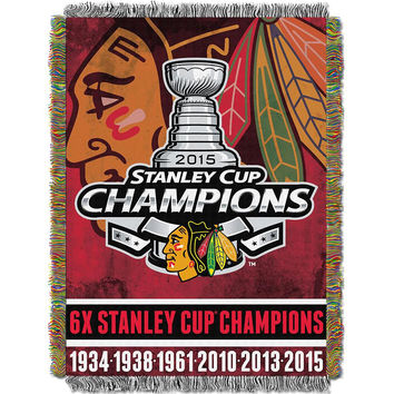 Chicago Blackhawks NHL Championship Commemorative Woven Tapestry Throw (48x60)