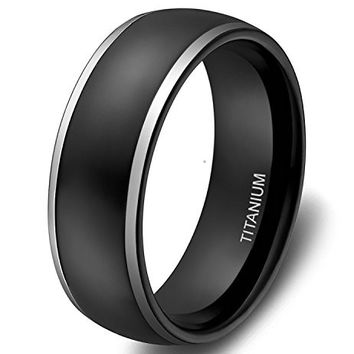 8mm Titanium Rings Black Dome Two Tone Polish Wedding Engagement Band