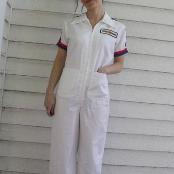 White Jumpsuit 70s Vintage Racing Auto Mechanic Harley Davidson 5 XS