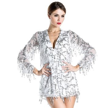White Long Sleeve Sequin Playsuit
