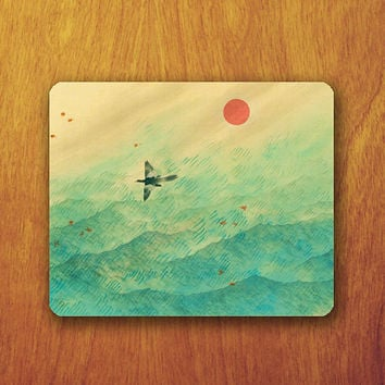 Japanese Painting Mouse Pad Beautiful sea Art and Vintage MousePad Watercolor Office Pad Work Accessory Personalized Custom Gift