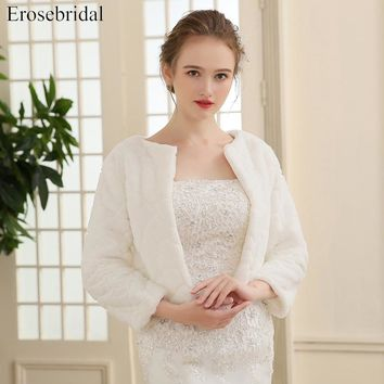 2018 New Arrival Faux Fur Jacket Wrap Shrug Bolero Coat Wraps Shawl Cape Bridal Wedding Shawl Bridal Accessories In Stock