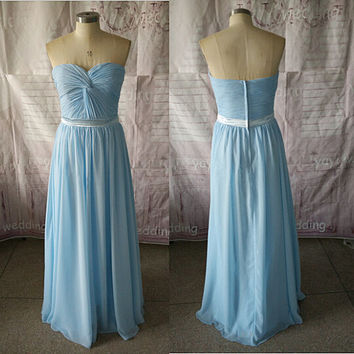 Light Sky Blue Bridesmaid Dress Sweetheart Strapless Chiffon Skirt Zipper Back Long Party Dresses ET196